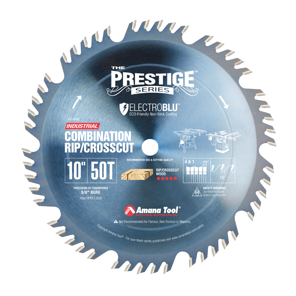 Amana Tool 610504C Electro-Blu Carbide Tipped Combination Ripping and Crosscut 10 Inch D x 50T 4+1, 15 Deg, 5/8 Bore, Non-Stick Coated Circular Saw Blade