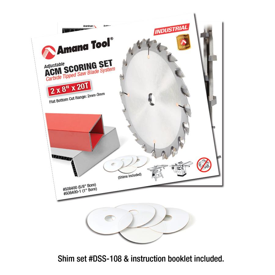 Amana Tool 508400 Carbide Tipped Adjustable ACM Scoring Set 8 Inch Dia x 2x20T, 18 Deg, 5/8 Bore
