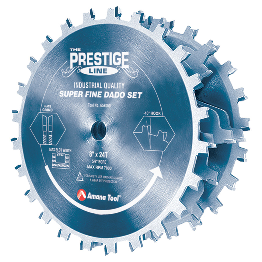 658060C Carbide Tipped Electro-Blu™ Prestige Dado 8 Inch Dia x 24T H-ATB, 5/8 Bore, Complete Dado Set with Six 4-Wing Chippers