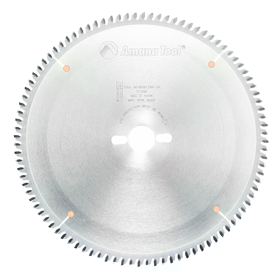 MSB1296-30 Carbide Tipped Double-Face Melamine 12 Inch Dia x 96T H-ATB, -2 Deg, 30mm Bore
