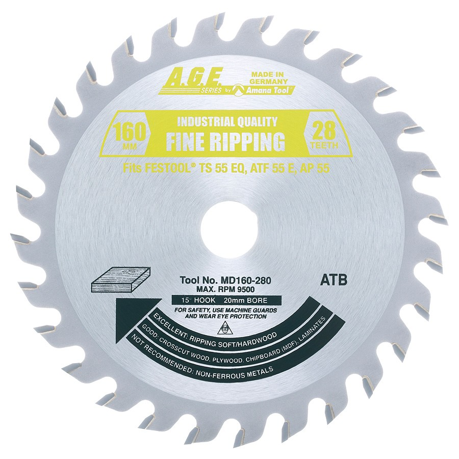 Amana tool Age series MD160-280 Carbide Tipped Saw Blade Comparable to FESTOOL® #490516 and Other Track Saw Machines, 160mm Dia x 28T ATB, 15 Deg, 20mm Bore, General Purpose Circular Saw Blade, Fits TS 55 EQ, ATF 55 E, AP 55