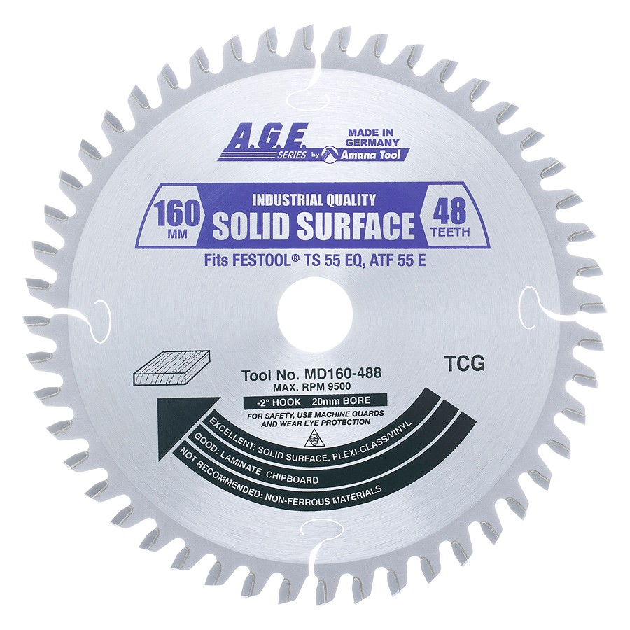 Amana tool Age series MD160-488 Carbide Tipped Saw Blade Comparable to FESTOOL® #489457 and Other Track Saw Machines, 160mm Dia x 48T M-TCG, -2 Deg, 20mm Bore, Solid Surface/Laminate Circular Saw Blade, Fits TS 55 EQ, ATF 55 E, AP 55