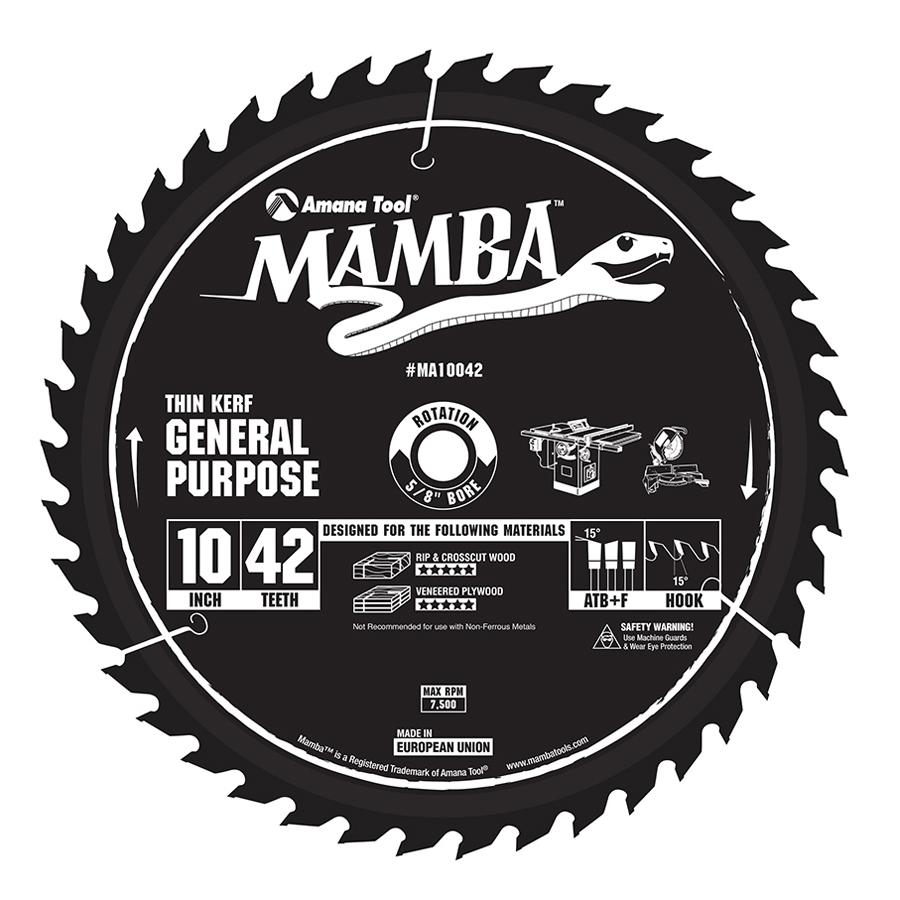 Amana Tool MA10042 Carbide Tipped Thin Kerf General Purpose Mamba Contractor Series 10 Inch D x 42T, ATB+F, 15 Deg, 5/8 Bore Circular Saw Blade