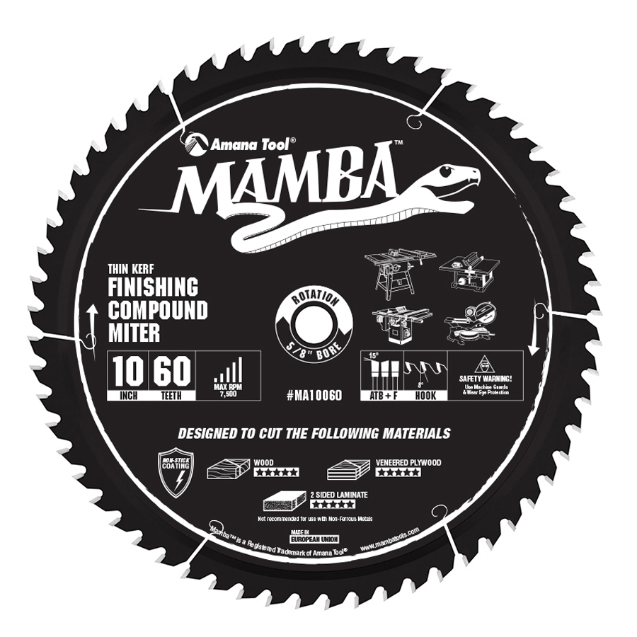 Amana Tool MA10060 Carbide Tipped Thin Kerf Finishing Compound Miter Mamba Contractor Series 10 Inch D x 60T, ATB+F, 8 Deg, 5/8 Bore Circular Saw Blade