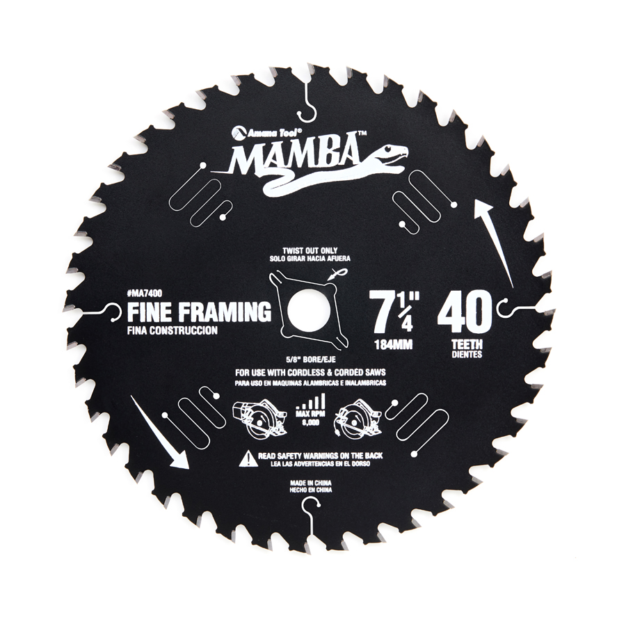 Amana Tool MA7400 Carbide Tipped Thin Kerf Fine Framing and Decking Mamba Contractor Series 7-1/4 Inch D x 40T, ATB, 15 Deg, 5/8 Bore with Diamond Knockout Circular Saw Blade