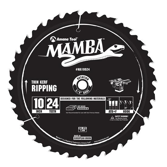 Amana Tool MA10024 Carbide Tipped Thin Kerf Ripping Mamba Contractor Series 10 Inch Dia x 24T, ATB+F, 20 Deg, 5/8 Bore Circular Saw Blade