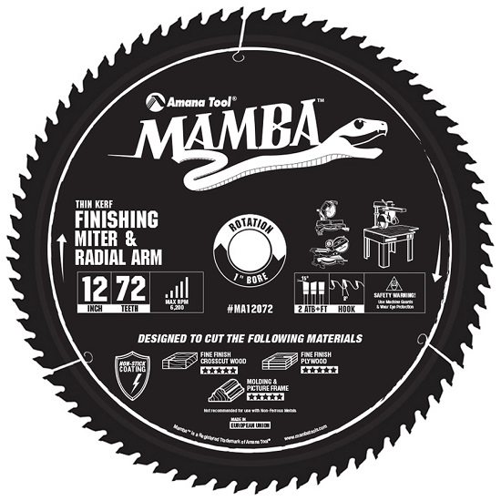 Amana Tool MA12072 Carbide Tipped Thin Kerf Finishing Compound Miter Mamba Contractor Series 12 Inch Dia x 72T, ATB F, 8 Deg, 1 Bore Circular Saw Blade
