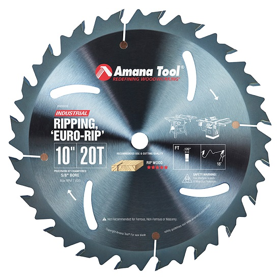 Amana Tool RB1020C Electro-Blu™ Carbide Tipped Euro Rip With Cooling Slots 10 Inch Dia x 20T FT, 18 Deg, 5/8 Bore, Non-Stick Coated